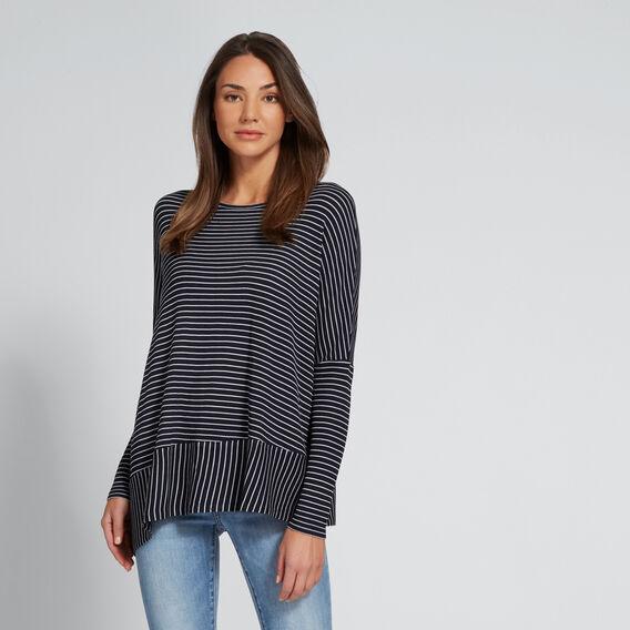 Asymmetric Sweater  DEEP NAVY STRIPE  hi-res