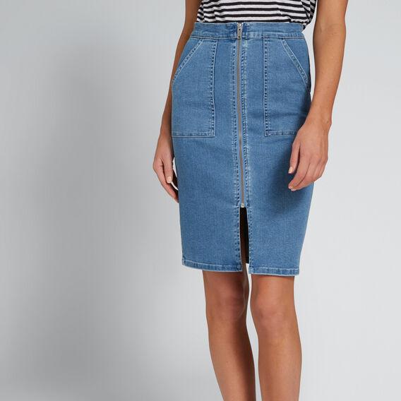 Zip Front Denim Skirt  CLASSIC DENIM  hi-res