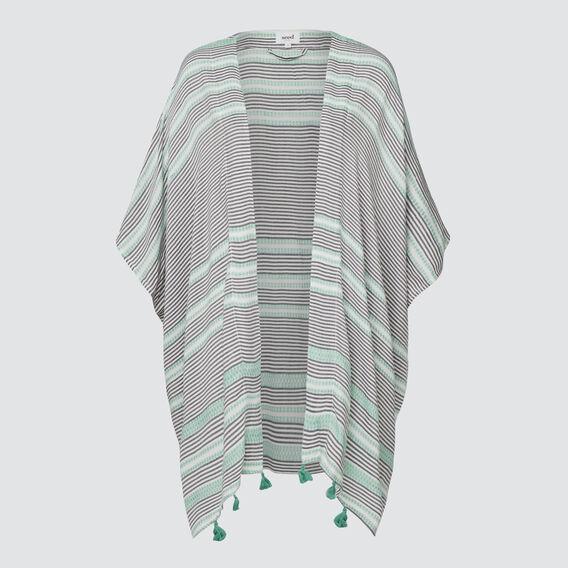 Diamond Stripe Poncho  PEACOCK GREEN MULTI  hi-res
