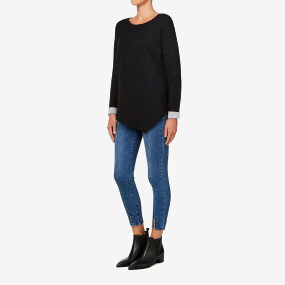 Double Knit Sweater  BLACK/MID GREY MARLE  hi-res