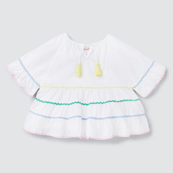 Rainbow Ric Rac Top  WHITE  hi-res
