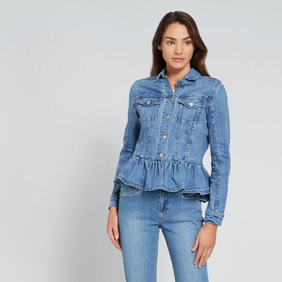 Ruffle Hem Denim Jacket  CLASSIC DENIM  hi-res