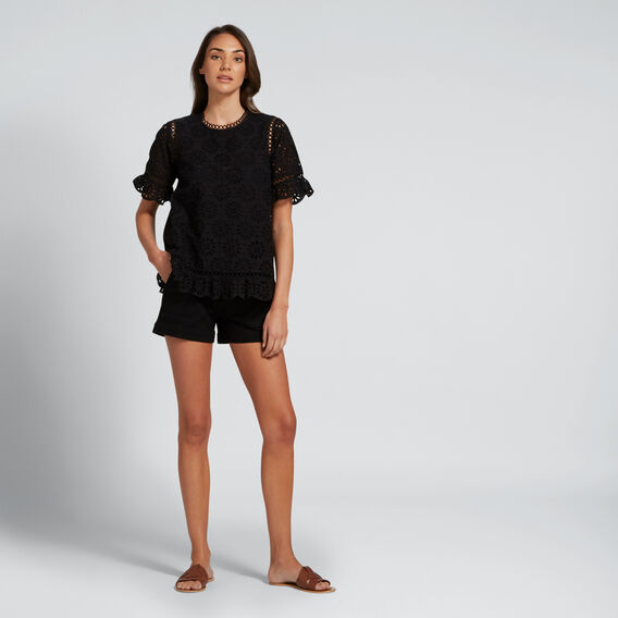 Broderie Scallop Edge Top  BLACK  hi-res