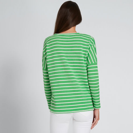 Scoop Neck Top  WASHED GREEN STRIPE  hi-res