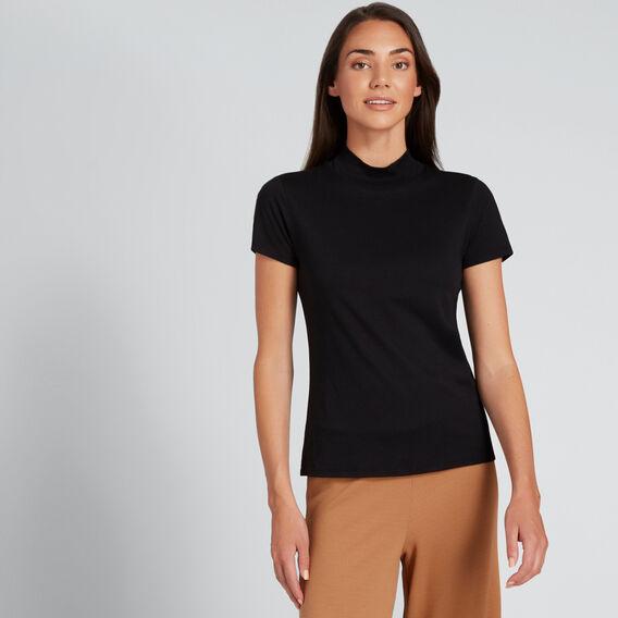 High Neck Short Sleeve Tee  BLACK  hi-res
