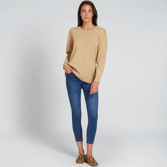 Curve Hem Easy Sweater  GOLDEN TAN MARLE  hi-res