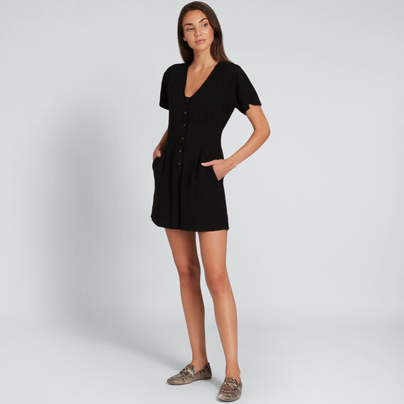 Button Up Romper  BLACK  hi-res