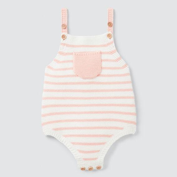 Knit Stripe Onesie  PEACH  hi-res