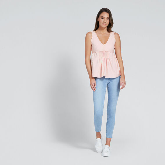 Scalloped V-Neck Top  PEACH NOUGAT  hi-res