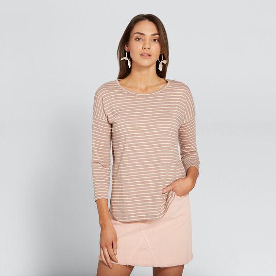 3/4 Sleeve Top  ROSE BEIGE/CANVAS  hi-res