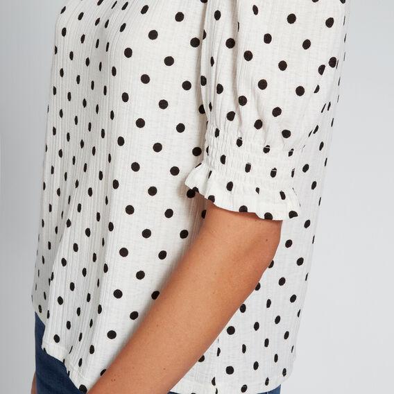 Shirred Sleeve Top  BISQUE/BLACK SPOT  hi-res