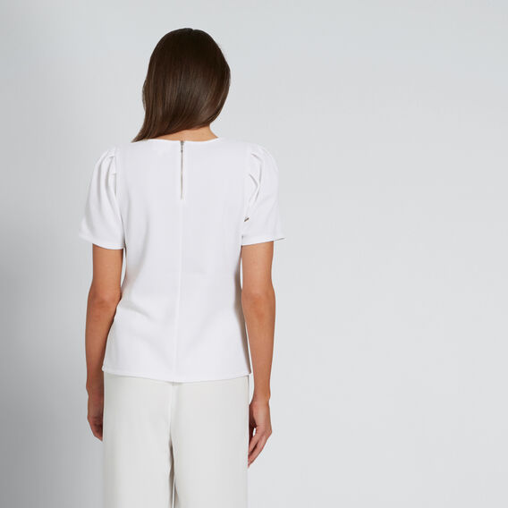 Pleat Shoulder Top  WHISPER WHITE  hi-res