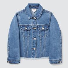 Exposed Hem Denim Jacket  VINTAGE BLUE WASH  hi-res