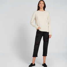 Hi Lo Round Neck Sweater  OYSTER MARLE  hi-res