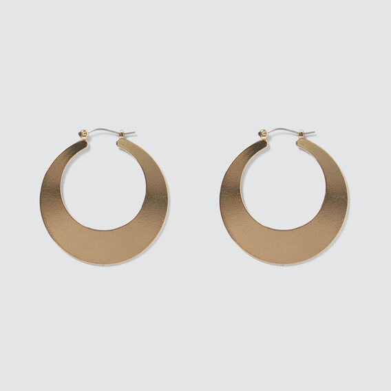 Flat Hoop Earrings  GOLD  hi-res
