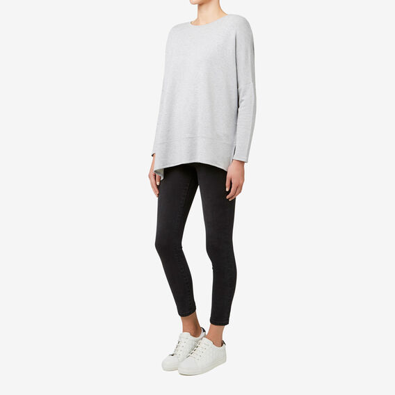 Asymmetric Brushed Top  MID GREY MARLE  hi-res