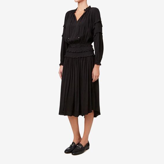 Shirred Waist Dress  BLACK  hi-res