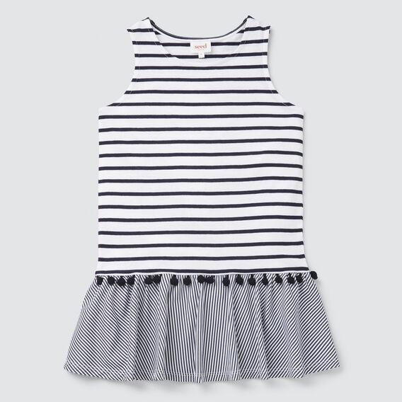 Stripe Pom Pom Dress  NAVY/WHITE  hi-res