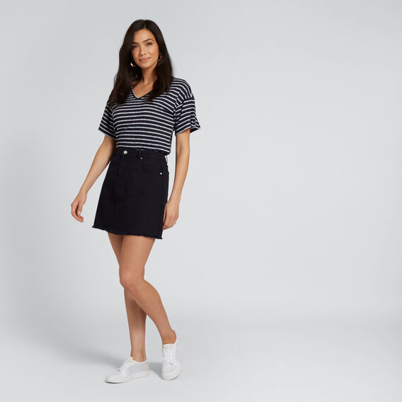 Pleat Sleeve Tee  DEEP NAVY STRIPE  hi-res