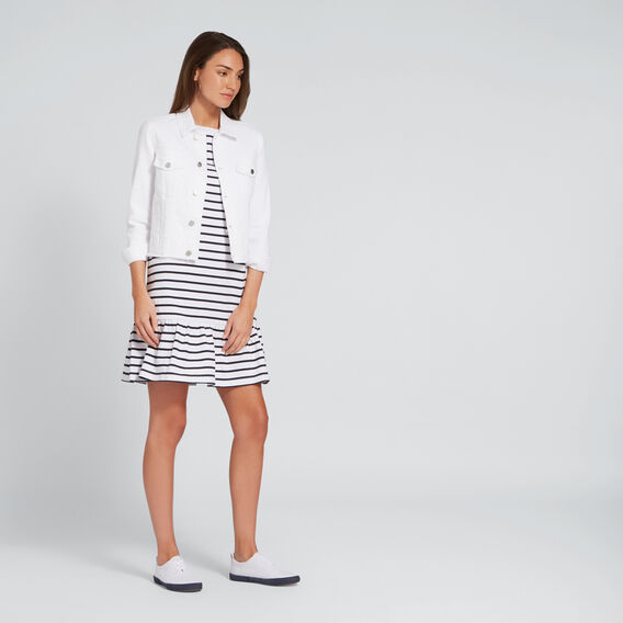 Ruffle Hem Dress  DEEP NAVY/WHT STRIPE  hi-res