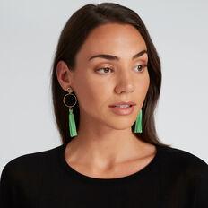 Circle Tassle Earrings  WASHED GREEN  hi-res