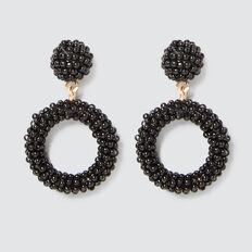Mini Beaded Drop Earrings  BLACK  hi-res