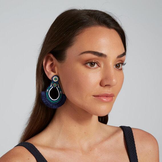 Beaded Fringe Earrings  MULTI  hi-res