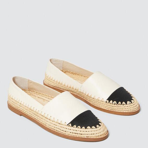 Elle Leather Flat  BLACK/CREAM  hi-res