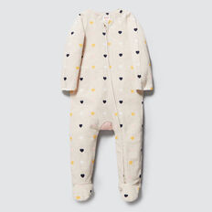 Heart Zipsuit- Available in 00000  OAT MARLE  hi-res