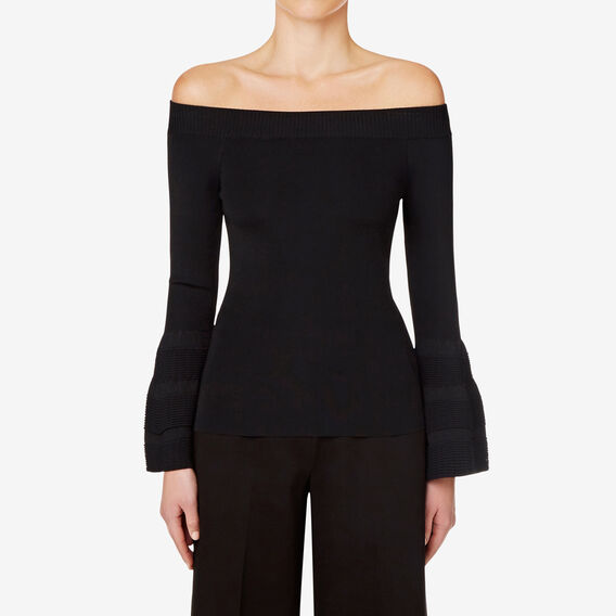 Off Shoulder Knit Top  BLACK  hi-res