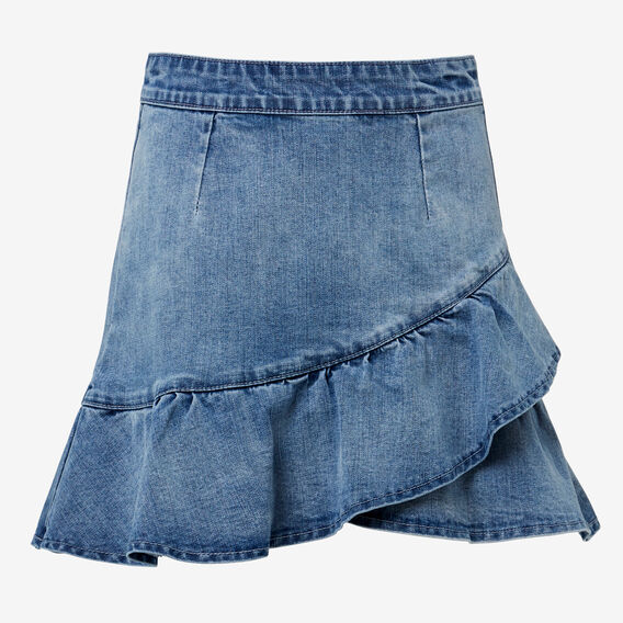 Ruffle Denim Skirt  BRIGHT WASH  hi-res