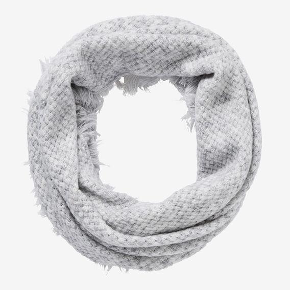 Basket Knit Fringe Snood  LIGHT GREY MARLE  hi-res
