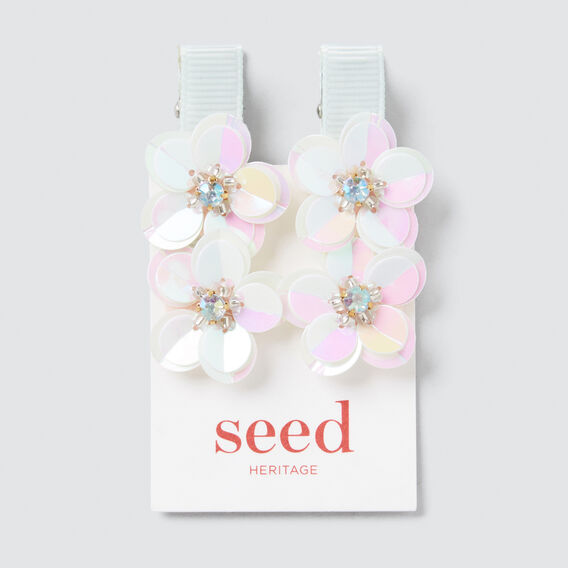 Iridescent Flower Set Duck Clip  SILVER  hi-res