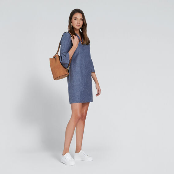 Flared Sleeve Dress  DEEPEST BLUE WASH  hi-res