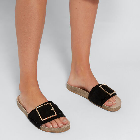 Sienna Buckle Slide  BLACK  hi-res