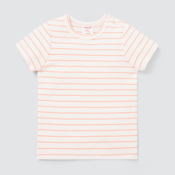 Stripe Rib Tee  BRIGHT PEACH  hi-res