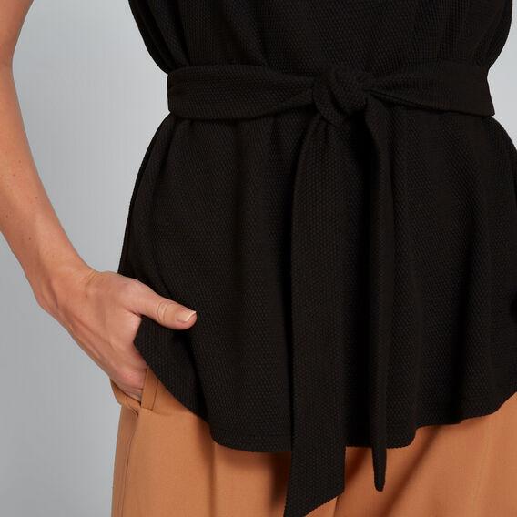 Tie Front Scoop Hem Top  BLACK  hi-res