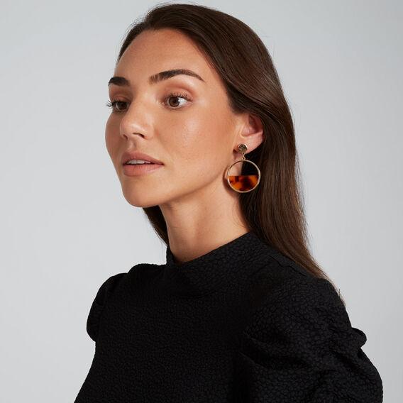 Half Moon Tort Earrings  GOLD/TORT  hi-res