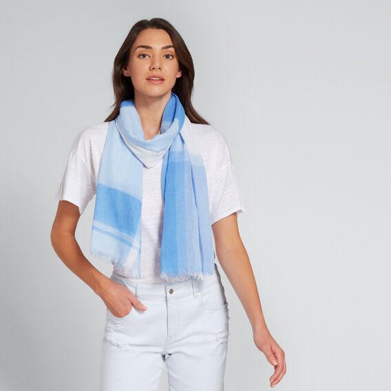 Gradient Check Scarf  COOL BLUE  hi-res