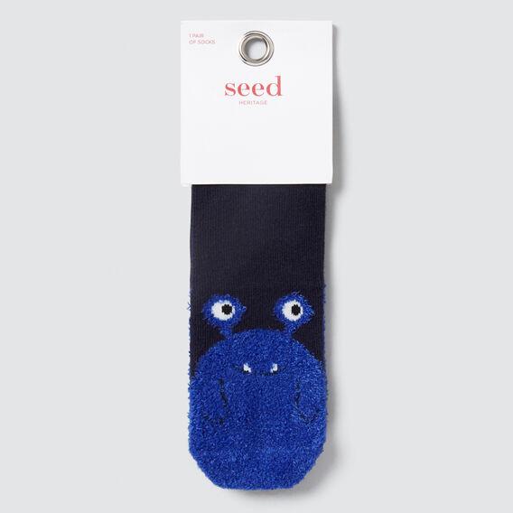 Fluffy Monster Socks  NAVY  hi-res