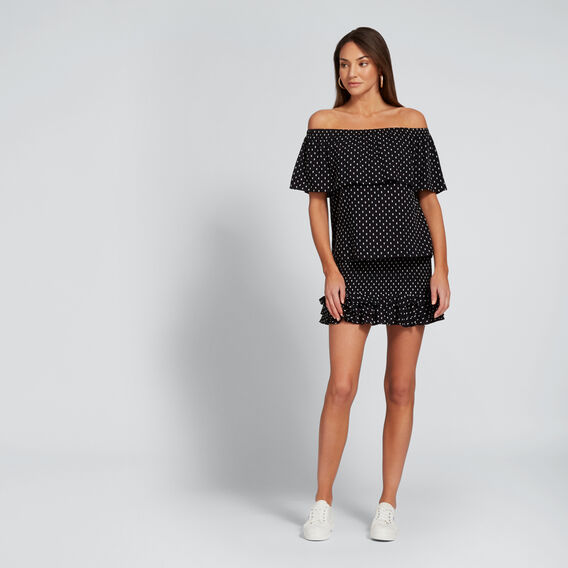 Dobby Off-Shoulder Top  BLACK  hi-res