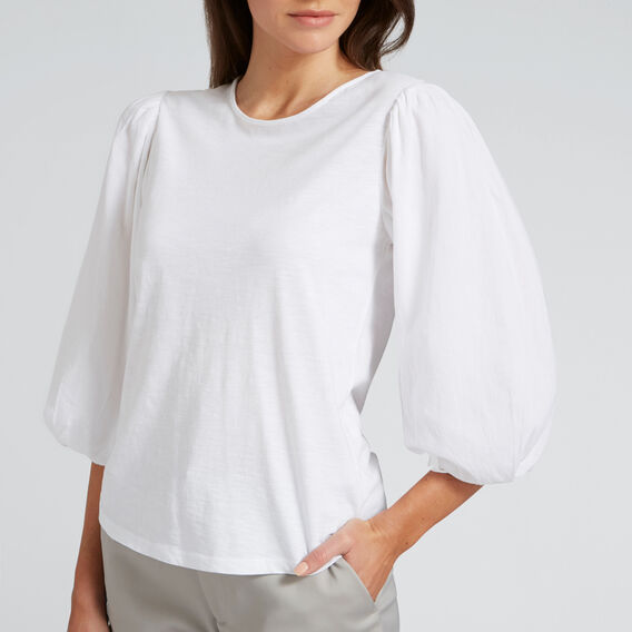 Contrast Sleeve Top  WHISPER WHITE  hi-res