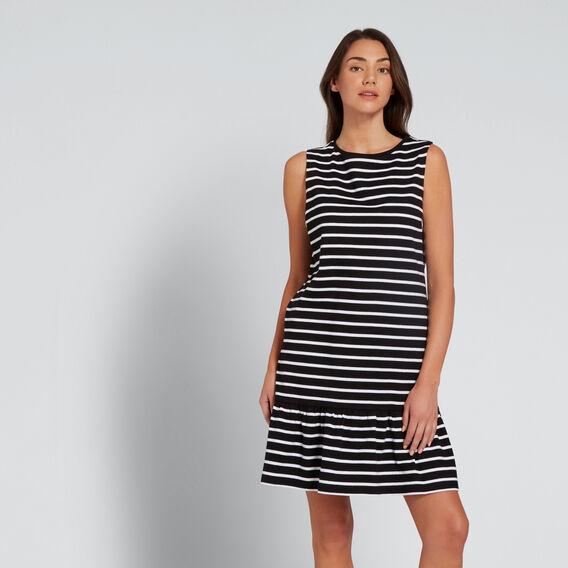 Ruffle Hem Dress  BLACK/WHITE STRIPE  hi-res