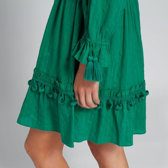 Pom Pom Trim Dress  PEACOCK GREEN  hi-res