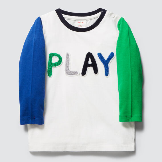 Play Slogan Tee  VINTAGE WHITE  hi-res