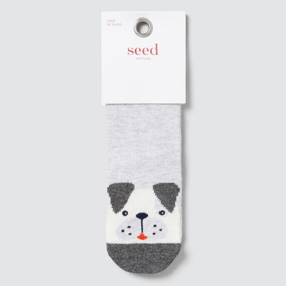 Patch Dog Socks  GREY MARLE  hi-res