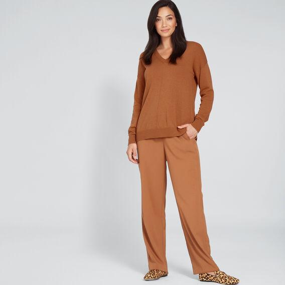 V-Neck Front Seam Sweater  VINTAGE BRONZE  hi-res