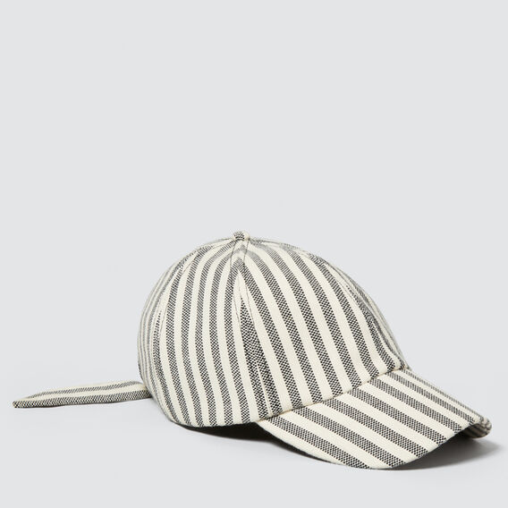 Tie-Back Cap  CREAM/BLACK STRIPE  hi-res