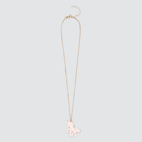 Pink/Gold Unicorn Necklet  PINK/GOLD  hi-res