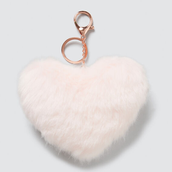 Fluffy Heart Bag Charm  ICE PINK  hi-res
